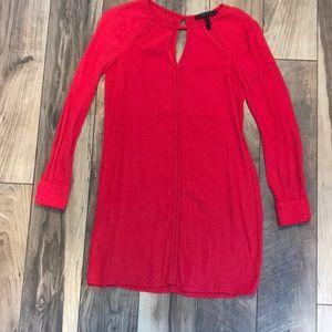 BCBG Red Long Sleeve Shift Dress